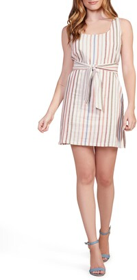 BB Dakota Walk the Linen Stripe Belted Shift Dress