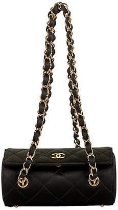 One Kings Lane Vintage Chanel Silk Barrel Evening Bag - Vintage Lux