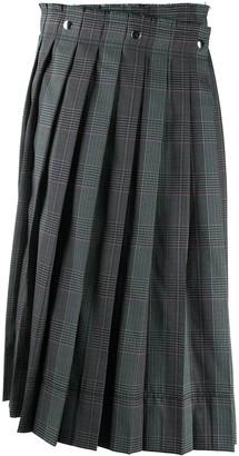 Acne Studios Houndstooth Pleated Midi Skirt