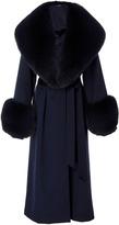 Oday Shakar Wool Coat With Fox Fur Collar And Cuffs