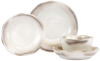 Vietri Set of 4 Aurora Ash Place Setting - White/Gray