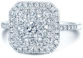 Ice 1 CT TW Diamond 14K White Gold Double Entourage Halo Engagement Ring