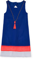 Rare Editions Sleeveless Colorblock Dress with Necklace - Girls 7-16
