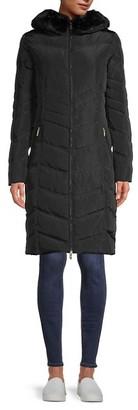 Karl Lagerfeld Paris Faux Fur-Trim Quilted Down Coat