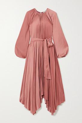 Ulla Johnson Yalena Belted Pleated Satin Midi Dress - Copper