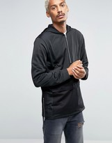 Asos Longline Half-Zip Track Hoodie With Pocket