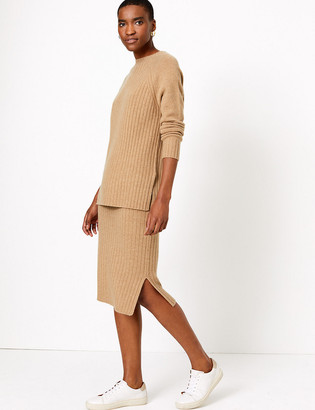 Marks and Spencer Pure Cashmere Ribbed Midi Skirt