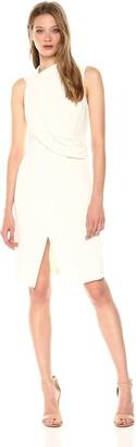 Halston Women's Sleeveless Mock Neck Draped Front Dress