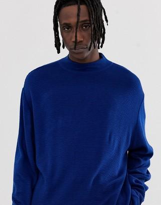 Asos Design DESIGN oversized textured sweater in cobalt-Blue