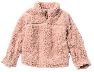 Elodie K Half Zip Faux Shearling Pullover Sweater (Toddler & Little Girls)
