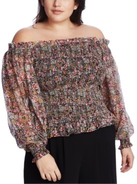 1 STATE Trendy Plus Size Smocked Off-The-Shoulder Top
