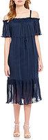Sangria Off-the-Shoulder Blouson Ruffled Midi Dress