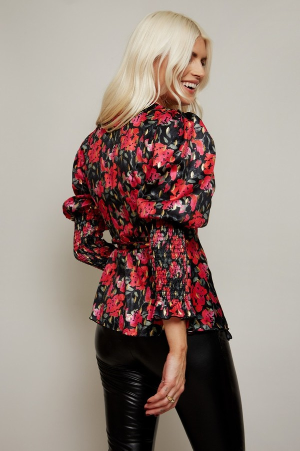 Thumbnail for your product : Little Mistress Lucia Floral-Print Gold Foil Satin Top