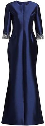 Catherine Regehr Radzimir Crystal Cuff Silk & Wool Mermaid Gown