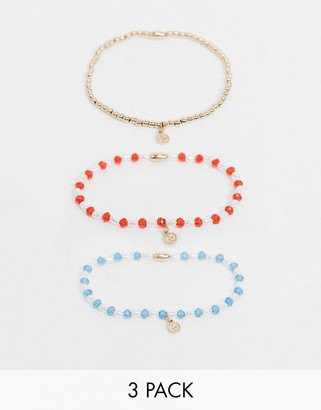 ASOS DESIGN pack of 3 stretch bracelets with beads and tiny hammered charms in gold tone