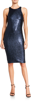 Halston Sequined Sleeveless Dress