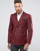 Asos Skinny Double Breated Blazer In Burgundy With Gold Buttons