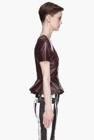 McQ by Alexander McQueen Deep burgundy goat Leather Peplum Blouse