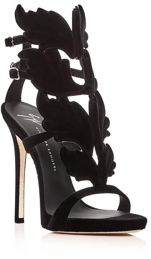Giuseppe Zanotti Women's Winged Flocked Velvet High-Heel Sandals