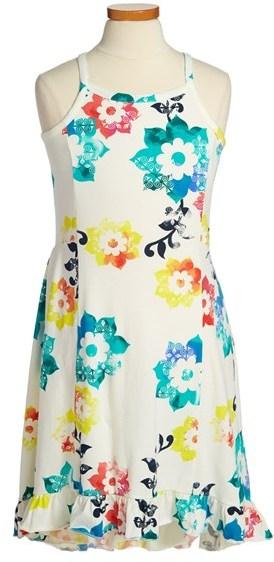 Tea Collection 'Sandcastle Floral Rumba' High/Low Sundress (Toddler Girls, Little Girls & Big Girls)