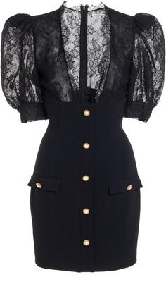 Alessandra Rich Lace-Inset Crepe Mini Dress