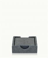 GiGi New York Square Coasters Grey Shagreen Leather