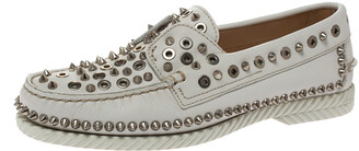 Christian Louboutin White Leather Studded Boat Deck Derby Size 40