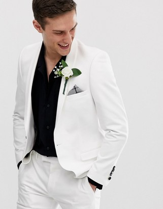 Twisted Tailor Hemmingway super skinny wedding suit jacket in white