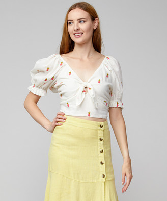 Free People Women's Tube & Crop Tops IVORY - Ivory Ladies That Luau Crop Top - Women