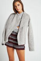 BCBGeneration Fleece Asymmetric Zip Jacket - White