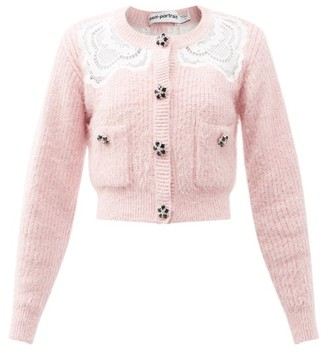 Self-Portrait Crystal-button Lace-insert Cardigan - Light Pink