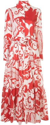 La DoubleJ Foliage-Print Flared Shirt Dress