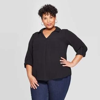 Ava & Viv Women's Plus Size Long Sleeve Collared Utility Pocket Shirt - Ava & VivTM