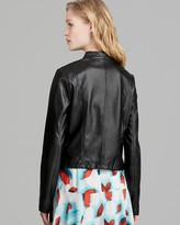 BB Dakota Jacket - Faux Leather Drape Front