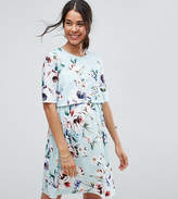 Asos Maternity - Nursing Asos Maternity Nursing Double Layer Dress In Light Blue Base Floral