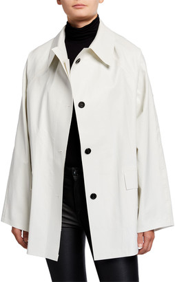 Kassl Editions Short Oil Finish Raincoat, White