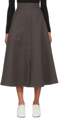 Lemaire Grey Linen Trench Skirt