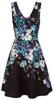 Wallis Navy Aqua Floral Prom Fit and Flare Dress