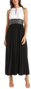 R & M Richards Two-Tone Bead-Waist Gown
