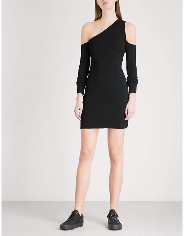 Amiri One-shoulder cutout ribbed-knit mini dress