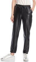 RD Style Faux Leather Straight Leg Cropped Joggers