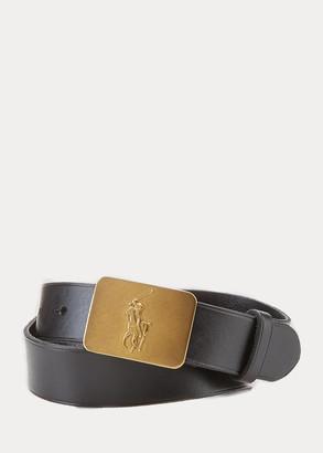 Ralph Lauren Big Pony-Buckle Leather Belt