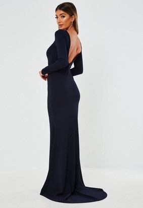 Missguided Navy Open Back Fishtail Maxi Dress