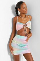 Thumbnail for your product : boohoo Tie Dye Ruched Bralette & Mini Skirt Set