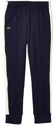 Lacoste Kids Fleece Athleisure Track Pants with Side Piping (Toddler/Little Kids/Big Kids) (Navy Blue/Lapland/Navy Blue) Boy's Casual Pants