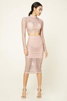 Forever 21 FOREVER 21+ Open-Mesh Layered Midi Skirt