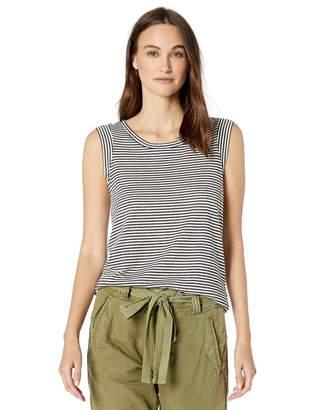 Alternative Women's Cap Sleeve Striped eco-Jersey Crew t-Shirt