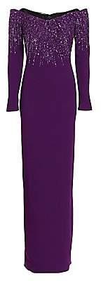 Pamella Roland Women's Off-The-Shoulder Sequin-Embellished Gown