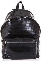 Saint Laurent City Croc Print Leather Backpack