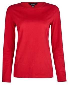 Dorothy Perkins Womens Red Long Sleeve Crew Neck Cotton T
